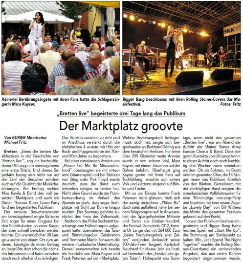Zeitungsbericht über die Veranstaltung BRETTEN LIVE am 18.08.2013